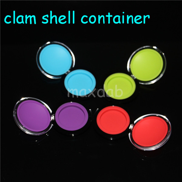 6ML clam Wax Containers Silicone Jars Dab Wax Container FDA BHO Wax Jar Silicone Box Storage Sticker Dabber Holder free shipping dhl