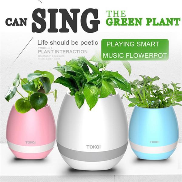 Bluetooth Musique Pot À Fleurs Smart Mini Pot De Fleurs En Plastique Capteur Coloré Plante Légère Pots Table Décoration OOA1886