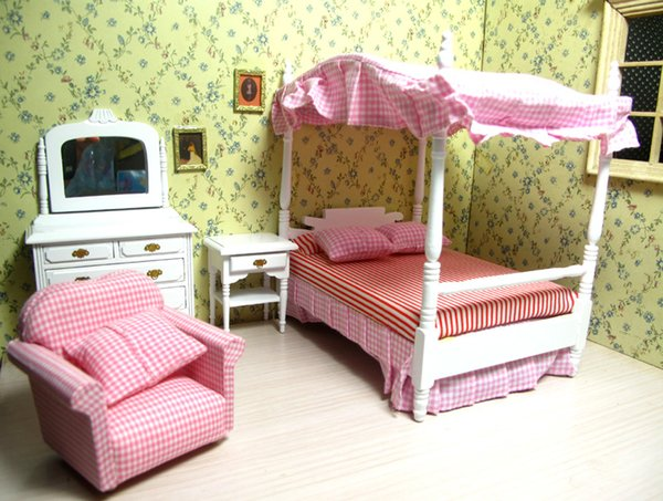 1:12 Scale Dollhouse Miniature Bedroom Furniture Set Dolls House Armchair  Canopy Bed Dresser Cabinet Cushions Kits Toy Gift Assembled Dollhouses Play  ...