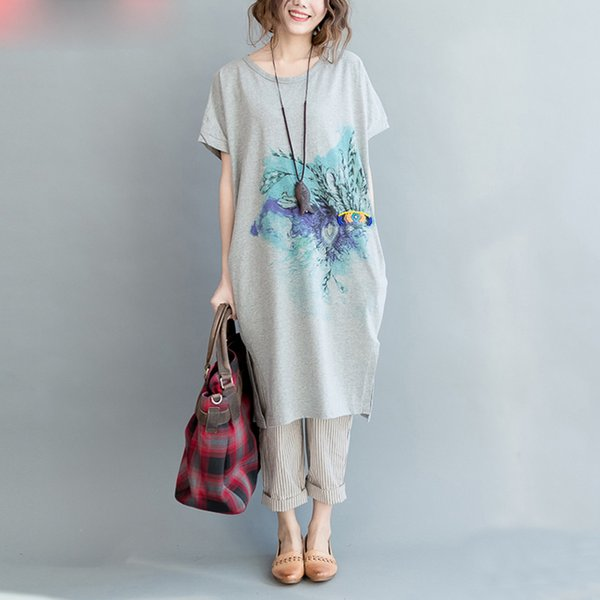 Camiseta con tallas grandes, estilo del verano, mujer, vestido de algodón, vestido con cuello en O, tops, casual, casual, manga corta, moda y bolsillo