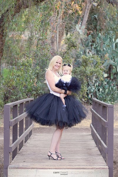black color kids daughter and mother party wedding birthday Photograph skirt cloth sets family matching outfits Europe dress