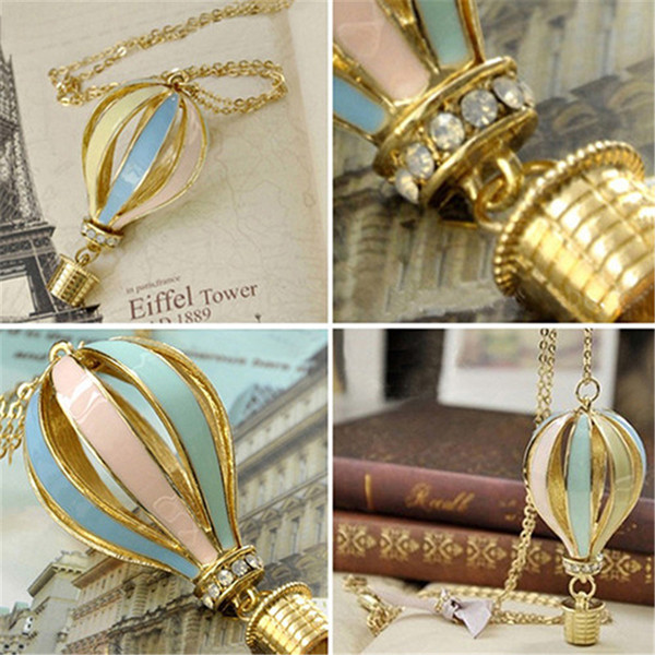 best selling Fashion Colorful Hot Air Fire Balloon Pendant Long Necklace Charm Sweater Chain TO127