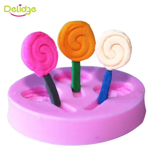 3 Mini Cute Lollipop Silicone Fondant Mould 3D Sweet Color Confectionery Candy Chocolate Mold DIY Wedding Baking Tools