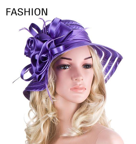 Elegant Ladies Flower Church Wedding Dress Organza Hats Women Kentucky Derby Hat Packable Summer Foldable Beach Wide Brimmed Red Sun Visors