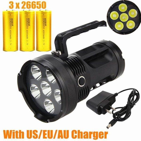High power Rechargeable 9000LM 6x CREE XML T6 LED TACTICAL Flashlight Torch Lamp Work Light Car use+3*26650+AC Charger Free Shipping