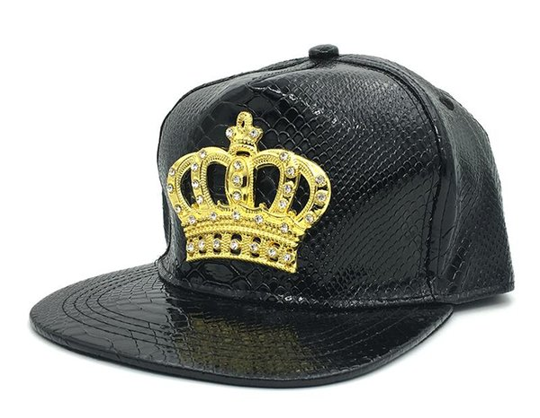 Мужская женская шляпа Snapback Crown KING Бейсбольные шапки Регулируемые шляпы хип-хопа Черный летний пик Rhinestone Crystal Sun Cap