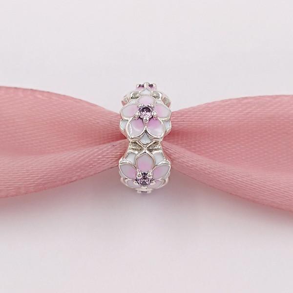 Authentic 925 Sterling Silver Beads Magnolia Bloom Encantos Se Encaixa Pandora Estilo Europeu Jóias Pulseiras Colar 792088PCZ