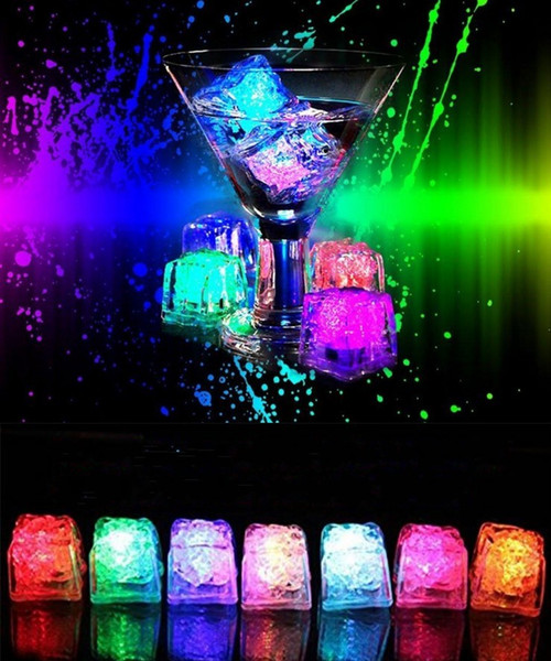 top popular LED Light Ice Cubes Flash Liquid Sensor Water Submersible LED Bar Light Up for Club Wedding Party Champagne Tower Christmas Decoration 2019