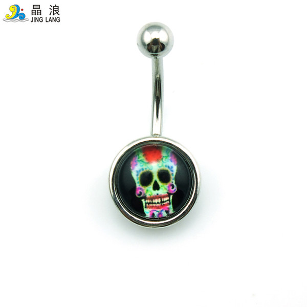 Special Style! New Arrival Wholesale Price Fashion Metal Small Round Skull Flower Navel Rings For Women Body Piecing Jewelry