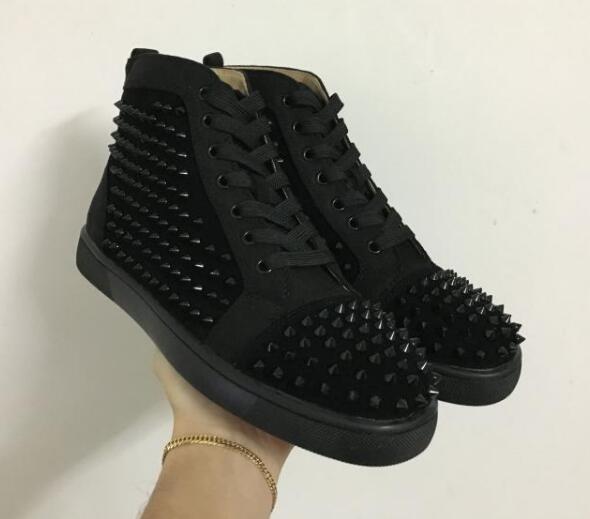 Drop shipping yeni rahat High-end özel metal çivili spike casual ayakkabı kırmızı altları erkekler için yüksek üst sneakers, hakiki deri boyutu 36-47