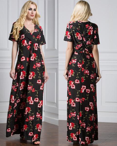 Wholesale 2017 European United States Bohemain V-neck Silk Printed Holiday Long Dress Black Short Sleeve Beach Dresses L-7XL