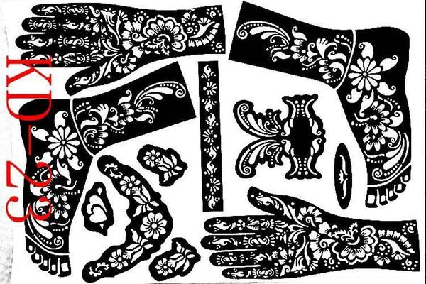 All'ingrosso-1 foglio KD23 Tattoo Templates mani / piedi henné tatuaggio stencil aerografia professionale mehndi nuovo Body Painting Kit forniture