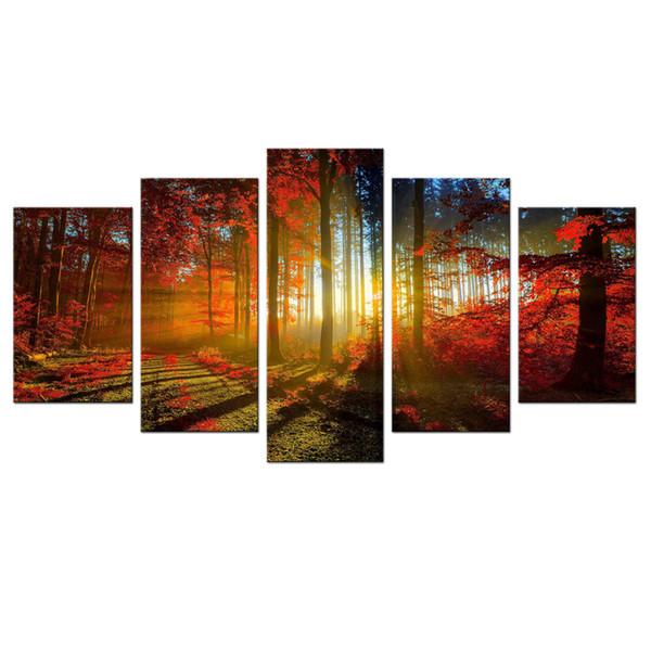 5 Bild schöne Herbst Ahorn Leinwand Gemälde Landschaft Wandkunst Gemälde Kunstwerk mit Holzrahmen für Wohnkultur Lesen zu hängen
