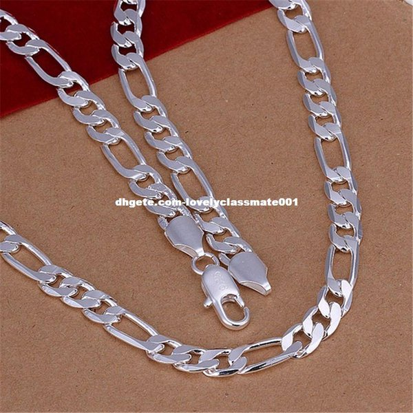 New Listing 8MM male necklace silver plated Necklace Fashion classic Burst models silver jewelry