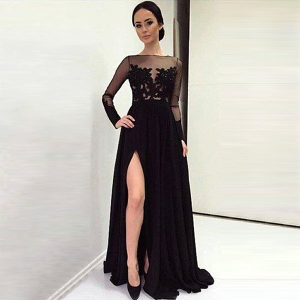 2017 Tulle lace A-line Long sleeves Celebrity Dresses floor length holiday Gowns for Special Occasion formal Prom evening dress qw 2016
