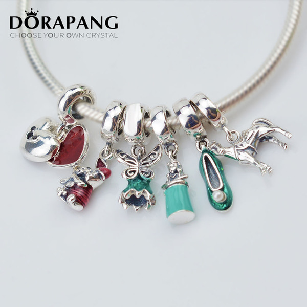 DORAPANG 2017 NEW Charms High Quality Christmas Cinderella Big Hole Pendant Beads Fit For Bracelet Women's DIY Jewelry Making Gift