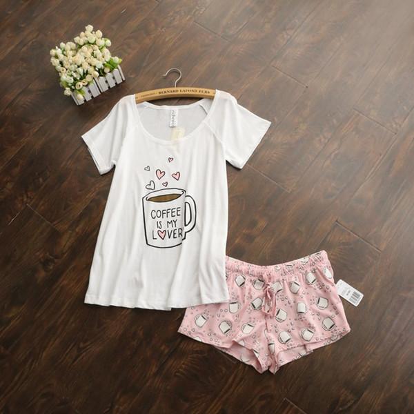 Ensembles de pyjama mignons avec des tasses de café de couleur imprimées femmes et blanc / rose / gris et vert pyjama ensembles vente chaude