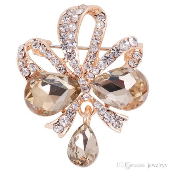 Luxury Crystal Waterdrop Brooch Full Rhinestone Flower Butterfly Corsage Women Man Wedding Party Jewelry Dress Brooches Pins