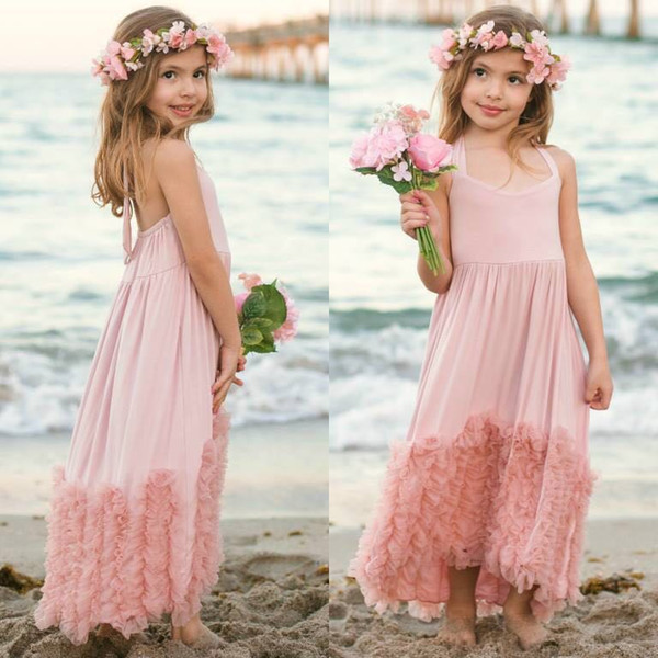 New Girls Dress Kids Dust Pink Long Maxi Cotton Ruffles Tulle Evening Dress Boutique Baby Clothing