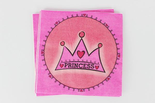 Atacado-20pcs coroa princesa tema papel partido papel de guardanapo de papel para crianças Birthday Party Decoração Suprimentos