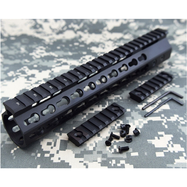 Slim Free Float Quad Rail Handguard 12 Inch KeyMod Picatinny Rail System BLACK STEEL Barrel Nut & 2 Sections