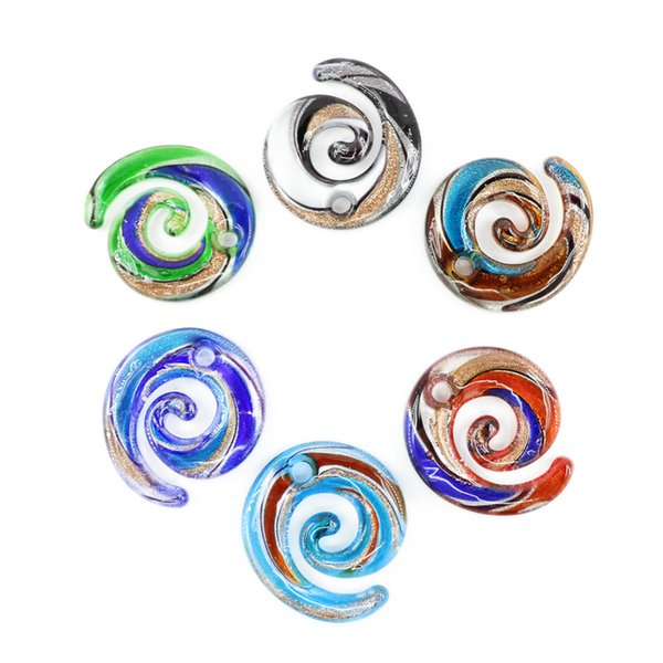 Wholesale lampwork glass charms pendants gold sand multi color flat lampwork glass charms pendants gold sand multi color flat swirl handmade art pendants for necklaces mozeypictures Gallery