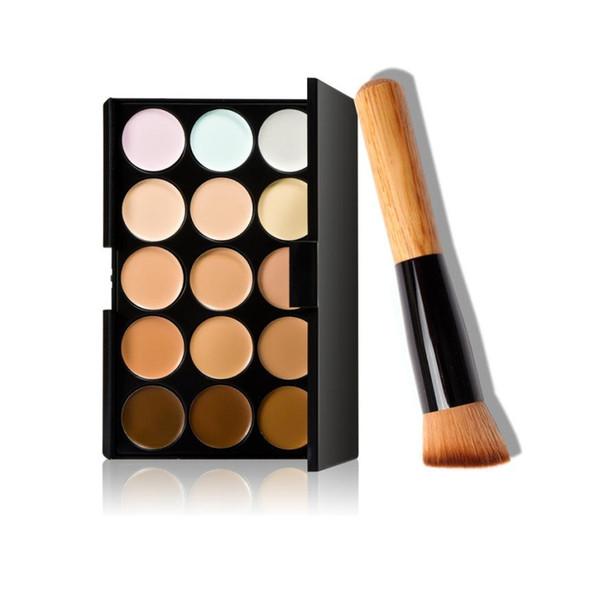 Wholesale- Miglior prezzo! 15 colori Makeup Concealer Contour Palette + Makeup Brush pincel de base Anne
