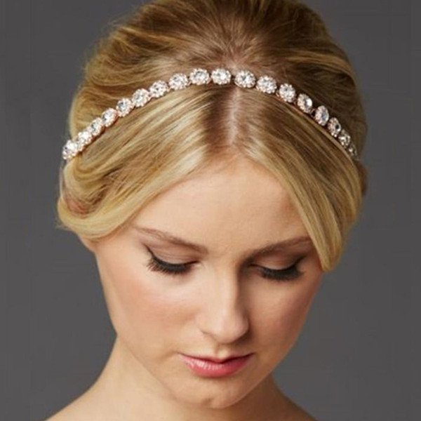 Free Shipping New Style Crystal Bridal Headband with A Glass Crystals with Elegant Ribbon Tie Back Wedding Bridal Hair Accessory