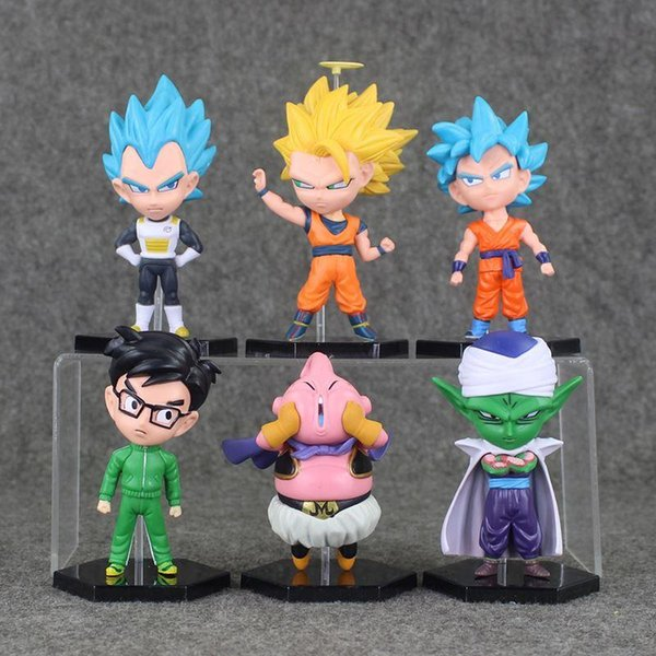 6pcs/lot Dragon Ball Z Resurrection F Son Goku Vegeta Buu Piccolo PVC Action Figures Toy Dollt