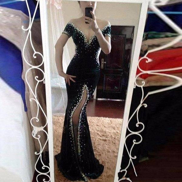 2017 newest beads mermaid evening dressoff shoulder short sleeves floor length sexy backless prom dress free shipping
