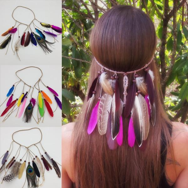 Plumas de pavo real Diadema de plumas de la India Diadema Bohemia Estilo Mujeres Diadema trenzada de cuero de imitación Pluma Hippie Accesorios