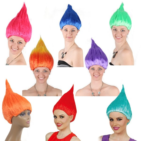 Hot Trolls Wig For Kids 36cm Flame Wig Children Cosplay Party Supplies Halloween Wig 7 Colors Birthday Party Wigs KCA1122