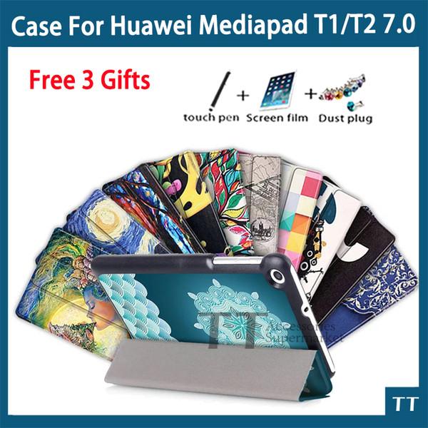 Wholesale- Custodia per Huawei Mediapad T2 7.0 Tablet PC Custodia ultrasottile in pelle per Huawei MediaPad T1 7.0 + 3 regali gratuiti