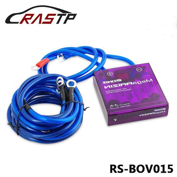 RASTP-Universal für Rennwagen Mega RAIZIN Volt Stabilisator / mit 5 Erdungsdrähten und LED-Display-Montage für alle 12V Fahrzeuge LS-BOV015