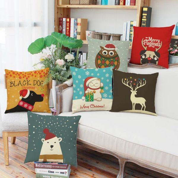 top popular Hot sale christmas cushion cover cartoon animals in christmas cap elk cat dog polar bear owl 44cm * 44cm 6 types room decoration daily use 2019