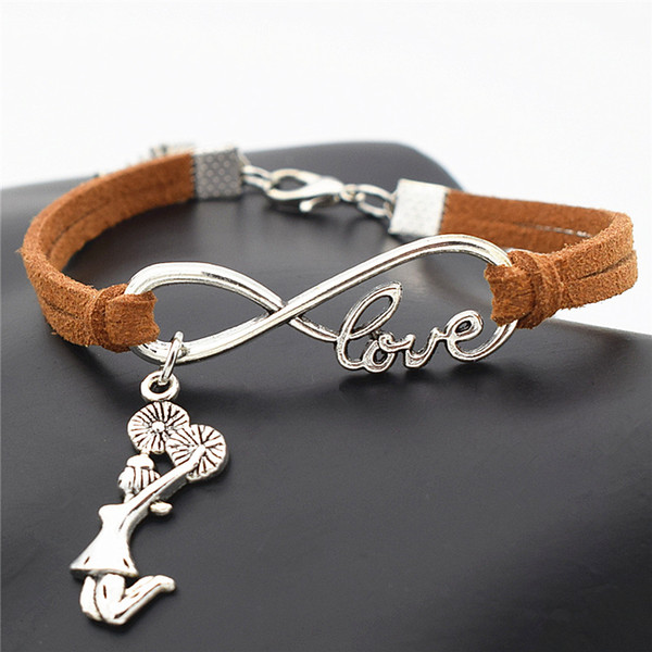 Wholesale- Antique Silver Infinity Love Cheerleader Cheer Girls Charms Leather Wrap Bracelet Cheer Team Cheering Unique Bracelets for Women