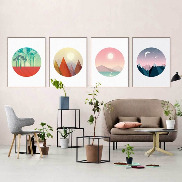 Modern Cottage Natural Scenery Moonlight Mountain Tree Canvas Big A4 Art Print Poster Wall Picture Home Decor Painting No Frame