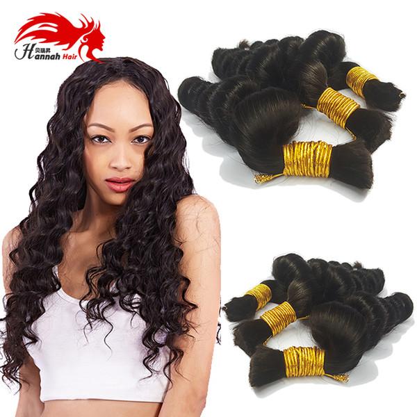 top popular Afro Loose Curly Brazilian Bulk Human Hair For Braiding 100% Unprocessed Human Braiding Hair Bulk No Weft Natural Black 1B# 2019