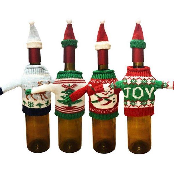 Natale maglione maglia cappello bottiglia di vino coperchio set pupazzo di neve renna Xmas albero bottiglia coperchi evento vacanze regalo decorazioni per l'involucro