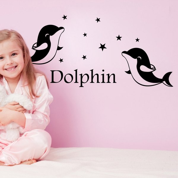9212 Dolphins Wall Sticker Personalized Name for Kids Room Wall Decal Dolphin Star Home Decor Free Shipping