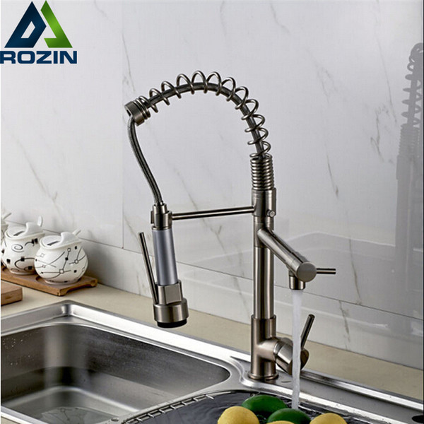 Wholesale- Luxury Chrome / Nickel Double Spout Pull Down Kitchen Sink Faucet Single Handle Brass Kitchen Mixer Taps