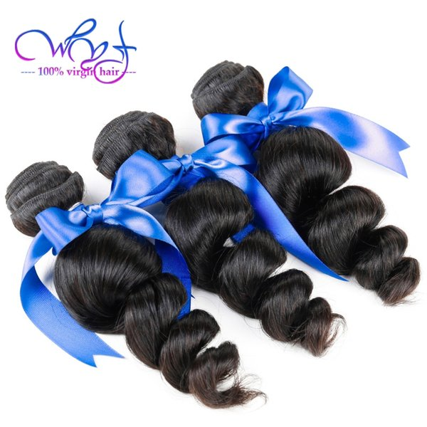 WYF Brazilian Hair 3 Bundles With Closure 100% Unprocessed Brazilian Human Hair Extensions Loose Wave Brazilian Hair With 4x4 Lace Closure