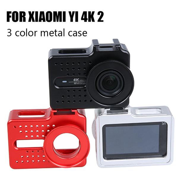 Wholesale- Xiao mi yi Metal Frame Cover Protective Case + 40.5mm UV Filter For Xiaomi Yi 4k Xiaoyi 2 4K Action Camera CNC Aluminum housing
