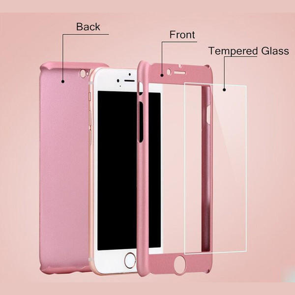 Full Cover For Apple iPhone X 8 5S SE 6 6S Plus Hard PC 360 Degree Full Body Case Free Glass Screen Protector