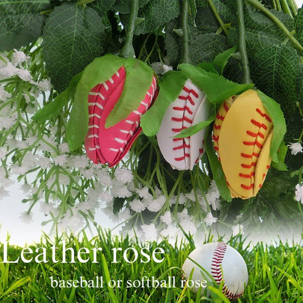 Softball leather pink long stem rose, game, sport, player, gift