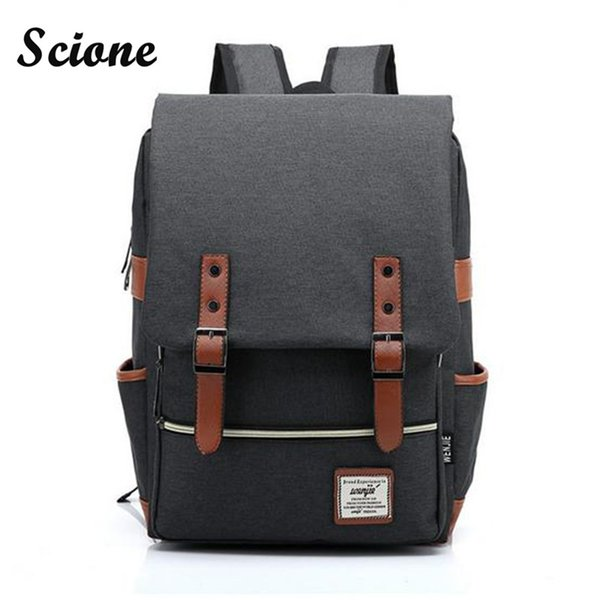 Wholesale- Fashion Men Daily Canvas Backpacks for Laptop Large Capacity Computer Bag Casual Student School Bagpacks Travel Rucksacks 1050tp