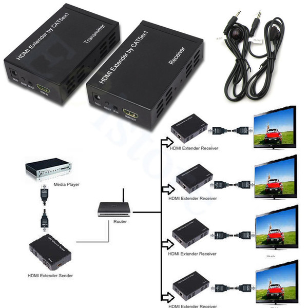 Freeshiping 1080P 100M 328ft HDMI Extender Over One CAT5E/6 Network RJ45 Cable TCP/IP Technology Splitter Repeater HDCP With IR Loop Control