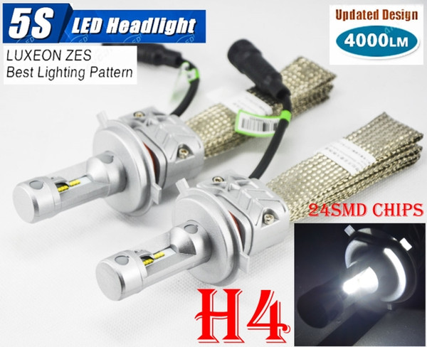 1 Kit H4 9003 HB2 50W 8000LM 5S Kit de phares à LED Auto Slim 24SMD LUXEON ZES LUMILED Puce tout-en-un en aluminium sans ventilateur de ceinture de conduite Ampoule