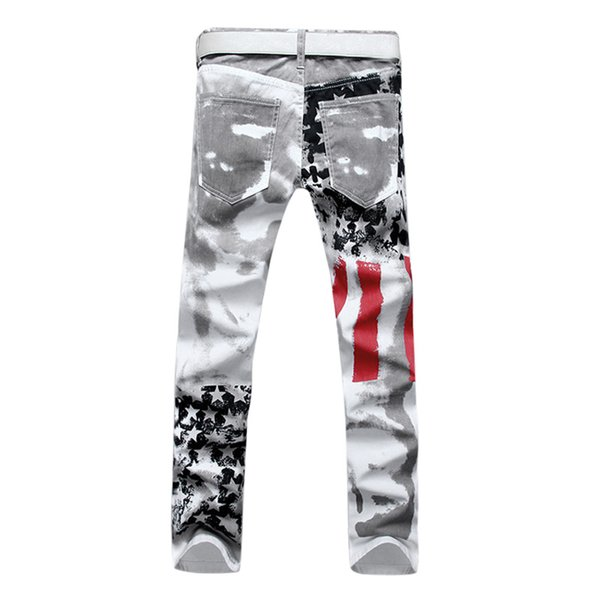 Wholesale- New Luxury Brand Stretch Mens Jeans American Flag Printing Jeans Men Casual Slim Fittness Trousers Denim Printed Jeans Pants