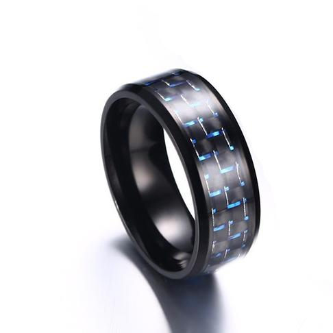 316l Stainless Steel Jewelry Men's Ring Wedding Band With Blue Red Yellow Charm Engagement Carbon Fiber Inlay, Comfort Fit 8mm